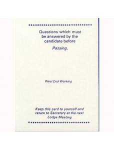 West End Working pASSING Card