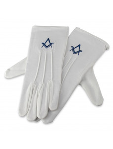 White Cotton Gloves With Royal Blue Square & Compass Motif