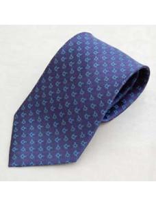 Tie - Blue On Blue  Multi-emblem Square & Compass